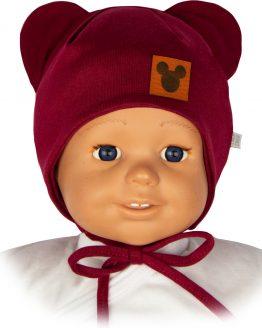 czapka niemowlęca dla dziewczynka myszka bordo wiązana z uszami