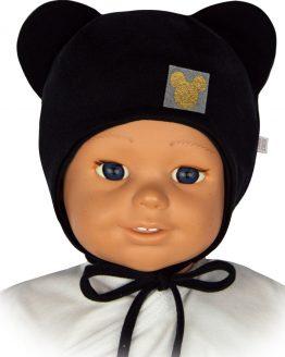 czapka niemowlęca dla dziewczynka myszka czarna wiązana z uszami