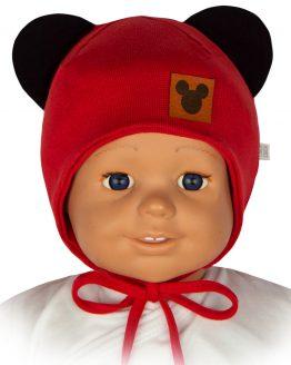 czapka niemowlęca dla dziewczynka myszka czerwona wiązana z uszami