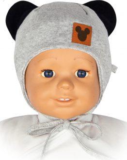 czapka niemowlęca dla dziewczynka myszka szara wiązana z uszami