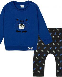 komplet niemowlęcy dla chłopca bear niebieska bluza i spodnie baggy