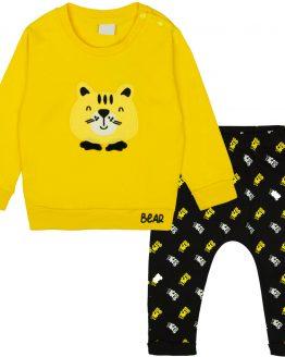 komplet dla chłopca żółta bluza bear i czarne spodnie baggy z napisami