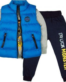 dres dla chłopca truck i niebieski bezrękawnik pikowany