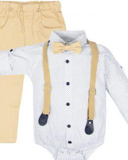 elegancki komplet wizytowy białe koszulobody z muchą i szelkami i beżowe spodnie