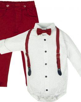 elegancki komplet wizytowy białe koszulobody z muchą i szelkami i bordowe spodnie