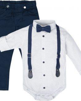 elegancki komplet wizytowy białe koszulobody z muchą i szelkami i granatowe spodnie