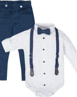 elegancki komplet wizytowy białe koszulobody z muchą i szelkami i niebieskie spodnie