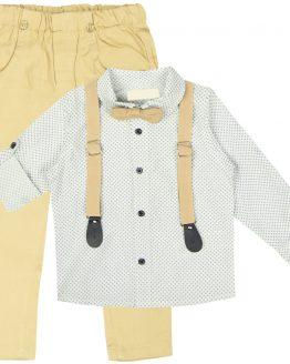 elegancki garnitur dla chłopca z koszulą szelkami beżową muchą i spodniami