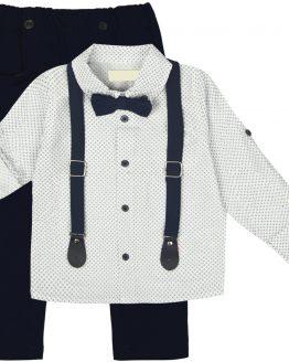 elegancki garnitur dla chłopca z koszulą szelkami granatową muchą i spodniami