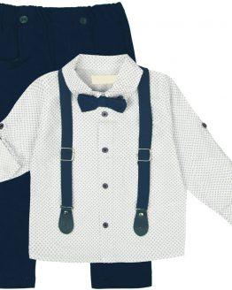 elegancki komplet dla chłopca z niebieskimi spodniami koszulą muchą i szelkami
