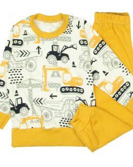 piżama dziecięca długi rękaw w koparki miodowe spodnie