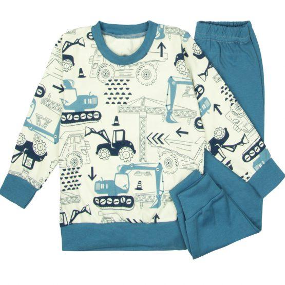 biało-niebieska piżamka dziecięca w koparki niebieskie spodnie i bluzka z długim rękawem