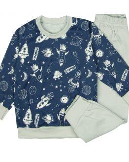 szaro-granatowa piżama dziecięca kosmos długie spodnie i długi rękaw