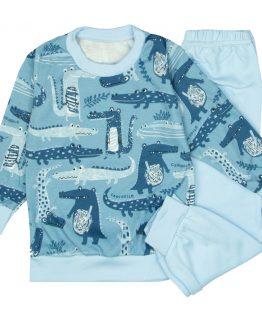 niebieska piżama dziecięca w krokodyle długie spodnie i bluzka z długim rękawem