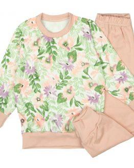 piżama pastelowe kwiaty dla dziewczynki pudrowy róż w kwiaty długi rękaw