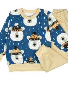 piżama dziecięca misie beżowe spodnie i granatowa bluzka długi rękaw w misie