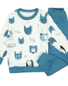 BIAŁO-niebieska piżama dziecięca w pieseły