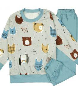 szaro-niebieska piżama w pieseły dla dzieci z długim rękawem