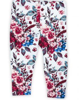 białe legginsy w kwiaty dla dziewczynki KATE