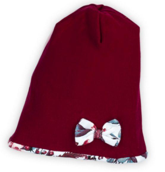 bordowa czapka wiosna jesień z kokardą i podszewką w kwiaty kate