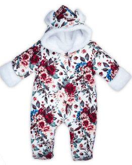 kombinezon niemowlęcy ocieplany futerkiem z uszami i rękawiczkami w kwiaty