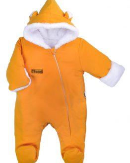 pomarańczowo_żółty kombinezon ocieplany z uszami dla niemowlaka