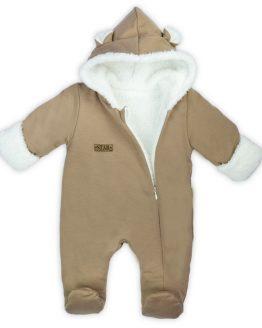 BEŻOWY kombinezon ocieplany z uszami ocieplany białym futerkiem na jesień i zimę z rękawiczkami