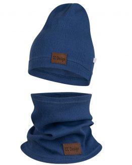 komplet wiosna jesień czapka i komin z naszywką jeans