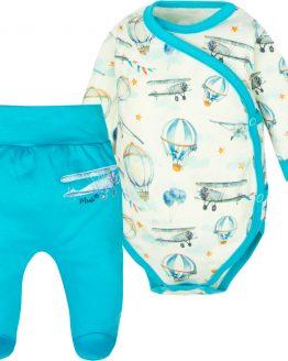 KOMPLET niemowlęcy dla chłopca samoloty półśpiochy i body kopertowe