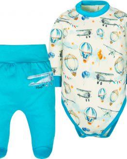 komplet body w samoloty i półśpiochy niebieskie dla chłopca