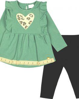 komplet dla dziwczynki tunika zgaszona mięta i czarne legginsy