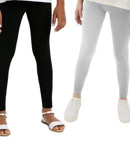 legginsy dla szczupłej dziewczynki slim szare i czarne polskie gładkie