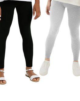 czarne i szare legginsy bawełniane dwupak dla dziewczynki