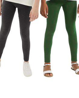 legginsy bawełniane dla szczupłej dziewczynki slim khaki i grafit melanż gładkie