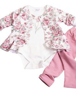 komplet dla dziewczynki body z nadrukiem spodnie pudrowy róż bluza rozpinana w róże z falbanką