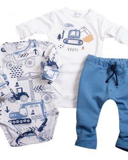 komplet dla chłopca dwa body w koparki i niebieskie spodnie baggy ze sznurkiem