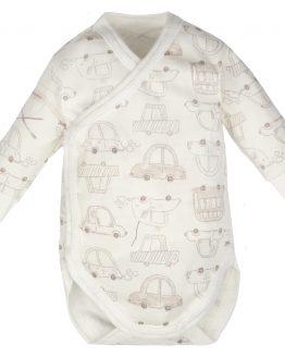 body kopertowe jasne beżowe w autka długi rękaw body niemowlęce
