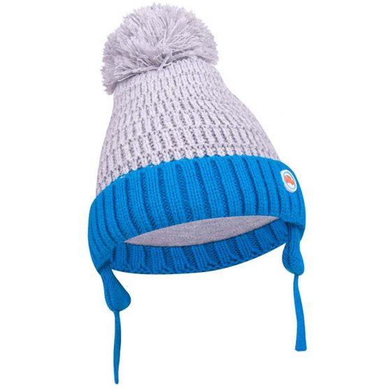 szaro-niebieska czapka z pomponem wiązana dla niemowlaka autko