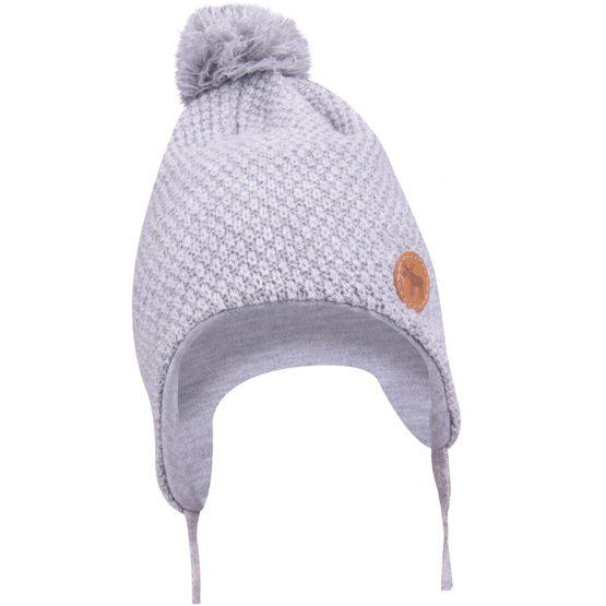 szara czapka zimowa henio z pomponem wiązana dla noworodka