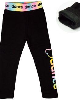 czarne legginsy bardzo ciepłe z futerkiem f26 na tęczowym pasie