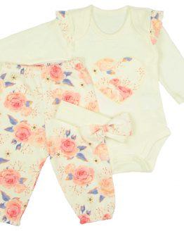 pastelowy komplet w kwiaty dla niemowlaka body z falbankami spodenki i opaska