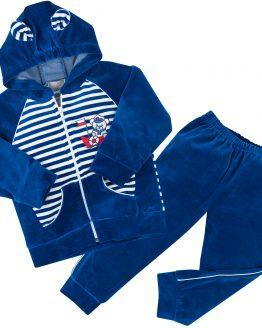 chabrowy dres dziecięcy z weluru bluza rozpinana z kapturem i spodnie niebieskie
