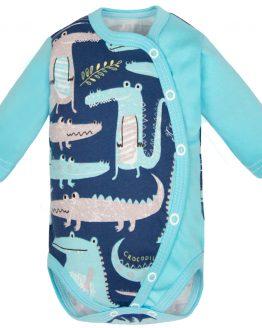 body niemowlęce rozpinane na całej długości długi rękaw granatowo turkusowe w krokodyle