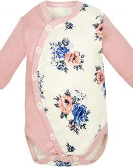 BODY ROZPINANE dla noworodka i niemowlaka pudrowy róż w róże długi rękaw