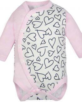 jasnoróżowe body długi rękaw rozpinane dla noworodka i niemowlaka w serca