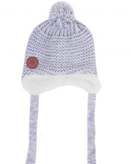 szara czapeczka z ociepleniem z futerka zimowa dla niemowlaka