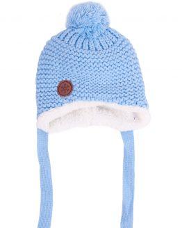 błękitna czapka zimowa dla niemowlaka ocieplana futerkiem