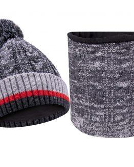 szary komplet ciepły na zimę czapka i komin dla chłopca
