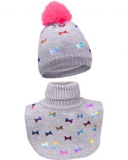 szary ciepły komplet czapka i golf komin dla dziewczynki kokardki
