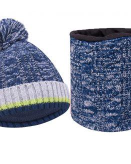 granatowy komplet ciepły na zimę czapka i komin dla chłopca